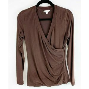 Cabi Cross Over Faux Wrap Brown Top